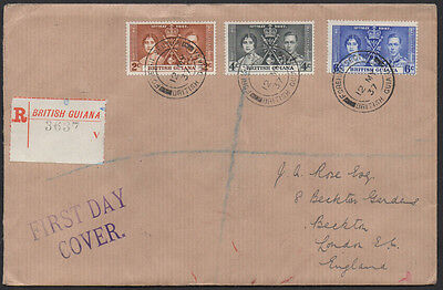 British Guiana 1937 Coronation registered FDC with Liverpool pmk on reverse.
