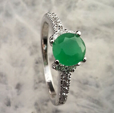 Natural Green Emerald &White CZ SOLID SILIVER Ring SIZE 7.5