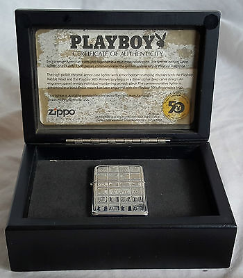 Playboy 50Th Anniversary Limited Edition Zippo Lighter With Box & Certificate
