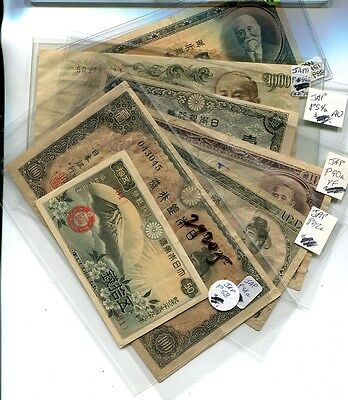 Japan 100 1000 50 Yen  Currency Note  Lot Of 7 Circulated 2920J