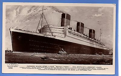 Superb Cunard White Star Line Queen Mary Largest Liner Rp Photo Postcard