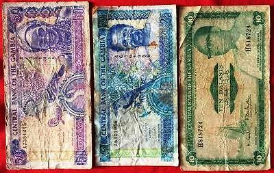 GAMBIA - Used Banknotes x 3
