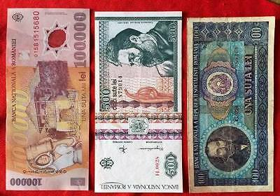 ROMANIA - Used Banknotes x 3