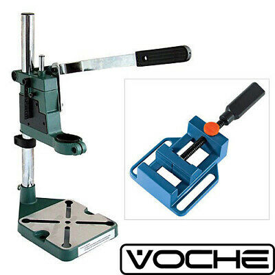 Voche Plunge Power Drilling Stand Bench Pillar Pedestal Clamp + Drill Press Vice