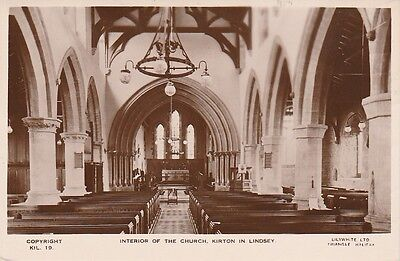 Old B/W Postcard Interior of The Church Kirton in Lindsey Real Photograph.
