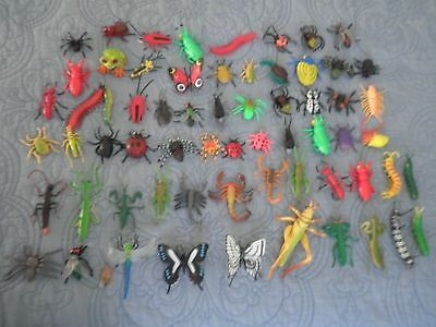 """65 Toy Rubber Insect, Bugs & creeping critters Lot: nice mix 1 ½ """" to 4""""  nice"""
