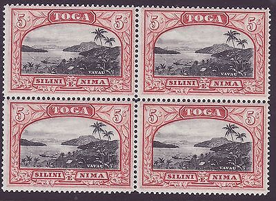 TONGA, 5s BLACK & RED, BLOCK OF 4, SG82, VERY LIGHTLY MOUNTED MINT, 1943