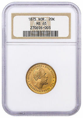 1875 Norway Gold 20 Kronor NGC MS65 SKU44723