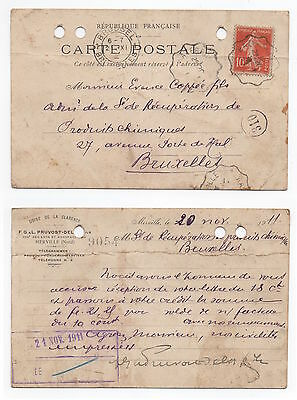 1911 FRANCE Cover HAZEBROUCK To BRUSSELS Postcard SG333 COMMERCIAL