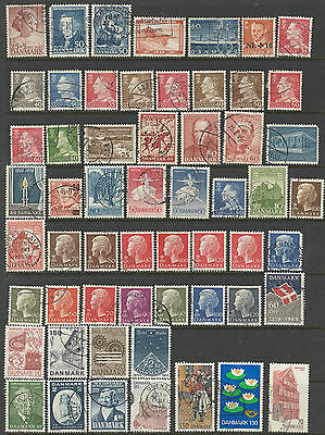 Denmark selection of 57 stamps mostly used