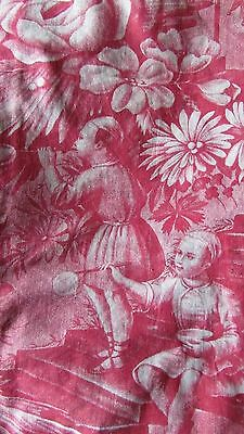 RARE PANEL ANTIQUE FRENCH TOILE DE JOUY MADDER RED MUSEUM PROVENANCE c1770-90 6f