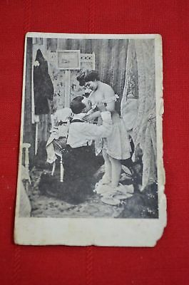 Vintage B/W Postcard PC Man Woman Risque Naughty Nude Boudoir Bedroom 900 #5