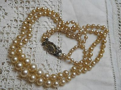 Elegant Vintage 1950s Double Strand Pearl Necklace with marcasite clasp
