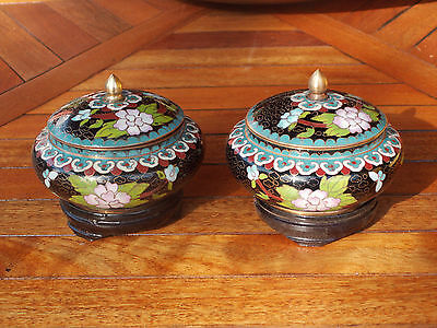 Old couple (2 Item) BOWL CLOISONNE CHINESE basic wooden Floral Decoration