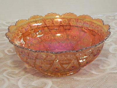 Imperial Diamond Lace Bowl Marigold Carninval Glass  8 1/4 inches