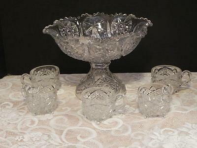 Vintage Childs Punch Bowl Clear Glass with 5 Cups