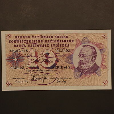 Switzerland 10 Francs 1969 Banknote Uncirculated