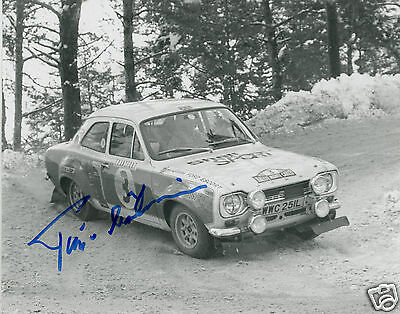Timo Makinen  Hand Signed Ford Escort Rs1600  Monte Carlo Rally Car Photograph
