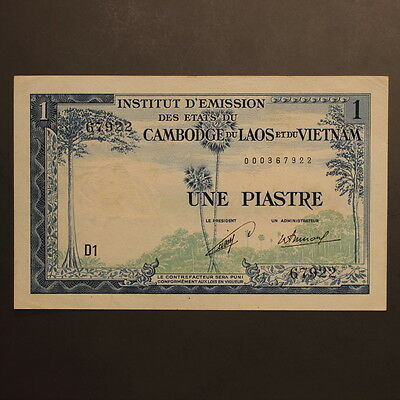 "French Indo China - Laos Issue 1 Piastre ND(1954) ""Temple"" P#100 Banknote ChAU"