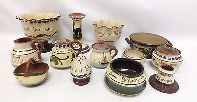LONGPARK TORQUAY WARE Pottery Collection of 13 Vintage Tableware Pieces - P26
