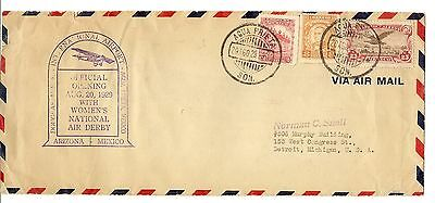 Mexico 1929 National Air Derby Cover to USA