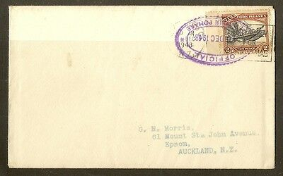 Cook Islands 1948 Cover to New Zealand 'Official'