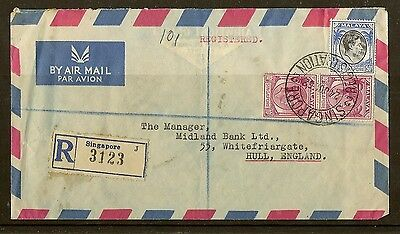 Singapore 1952 Registered Cover to UK