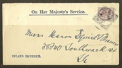 GB QV 1896 I.R. Official Cover
