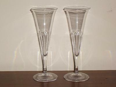 A Pair Of Victorian Glass Champagne Flutes, 19Th Century