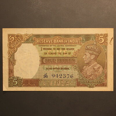 India - Reserve Bank 5 Rupees ND(1937) P#18a Banknote ChVF