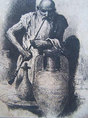 STEPHEN FERRIS 19thC drawing REFUGEE FROM GIBRALTAR signed ORIGINAL PEN AND INK