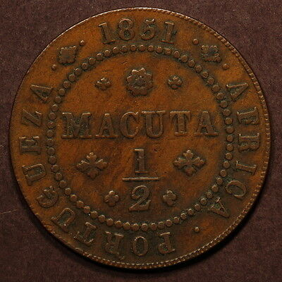 Angola 1/2 Macuta 1851 Copper VF