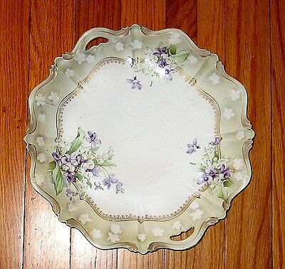 RS Prussia Porcelain KEYHOLE CAKE PLATE - 11.5in satin finish lily valley violet