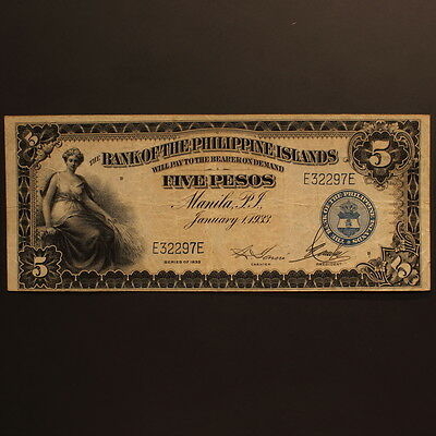Philippines - Bank of the Philippine Islands 5 Pesos 1933 P#22 Banknote ChVF
