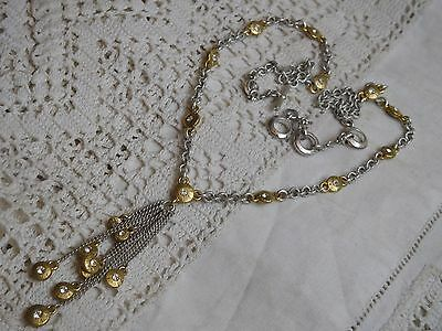 Stunning Vintage 1980s Gold & Silver Necklace with crystals signed MONET