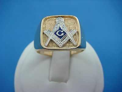 "Masonic ""compas"" 10K 2-Tone Gold Men's Ring, Solid Back, 10.1 Grams, Size 9.75"