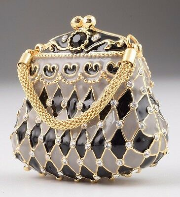 Bag trinket box by Keren Kopal Austrian Crystal Jewelry box Faberge