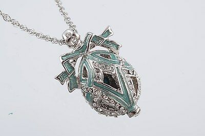 Faberge Easter Egg Necklace wite crystals by Keren Kopal silver plated pendant