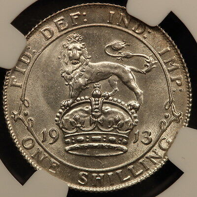 Great Britain Shilling 1913 Silver NGC MS 64