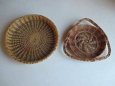 Two Old Native American Pine Needle Baskets