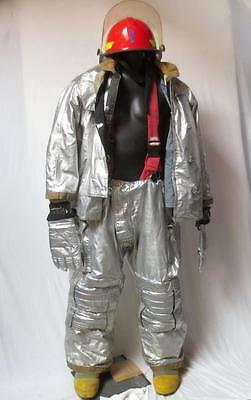 Full Firefighter Suit w/ Coat Pants Hat Boots and Gloves by Fisher Military Div.
