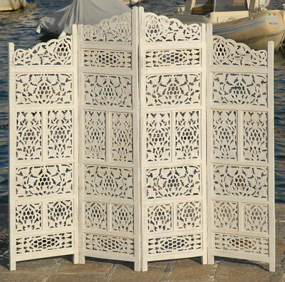 Paravent 4 Panel Indian Hand Carved Wooden Screen Room Divider Free P & P K