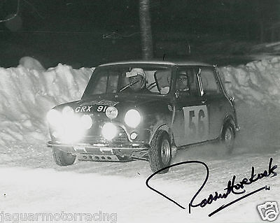 Paddy Hopkirk Hand Signed Mini Cooper 1965 Monte Carlo Rally    Photograph