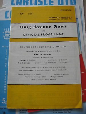 1968-69 Southport v MAnsfield Town D3 7.10.1968