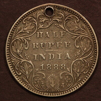 India - British Half Rupee 1888-B Silver VF