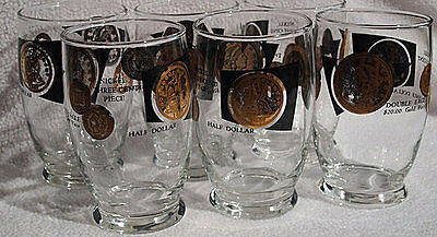 Vintage Set of 6 Drinking Glasses Double Eagle Nickel Three Cent Federal Glass