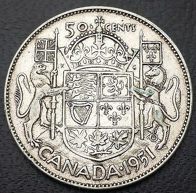 1951 Canada Silver 50 Cents Half Dollar Coin - Free Combined Shipping