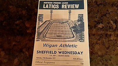 Wigan v Sheffield Wednesday FA Cup Programme 17/12/77.
