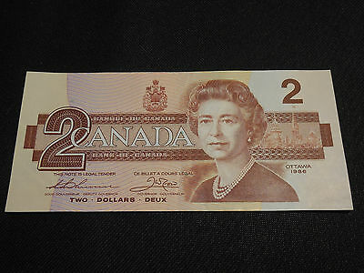 Bank of Canada 1986 $2 Two Dollars Canadian Money - Very Good Thick & Crisp AUC
