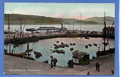 Super 1911 Steam Ship The Harbour Rothesay Aryll & Bute Vintage Postcard
